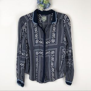 Maeve Anthropologie Floral Button Up Shirt 12